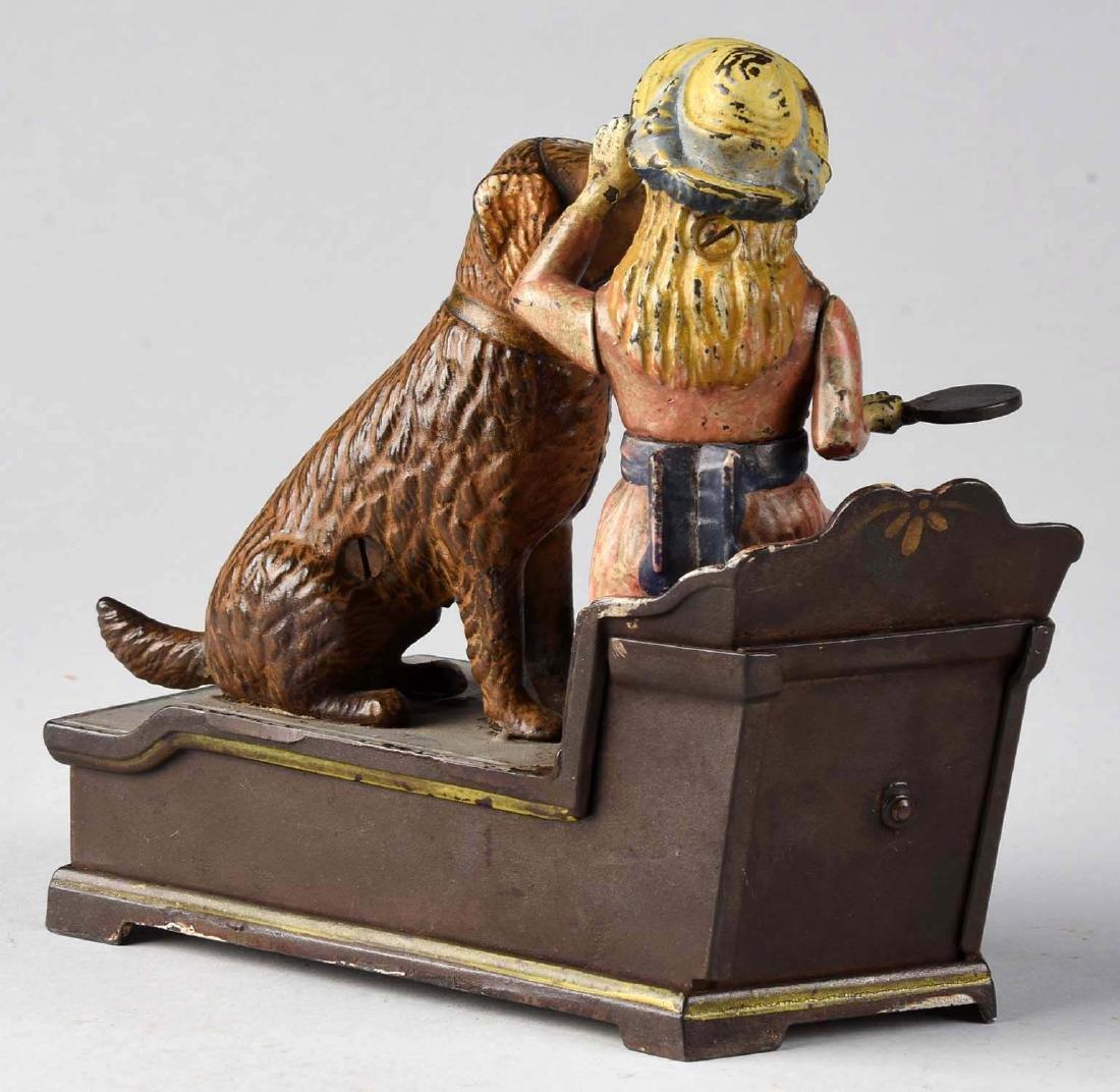 J. & E. Stevens Cast Iron Speaking Dog Mechanical Bank. - 2