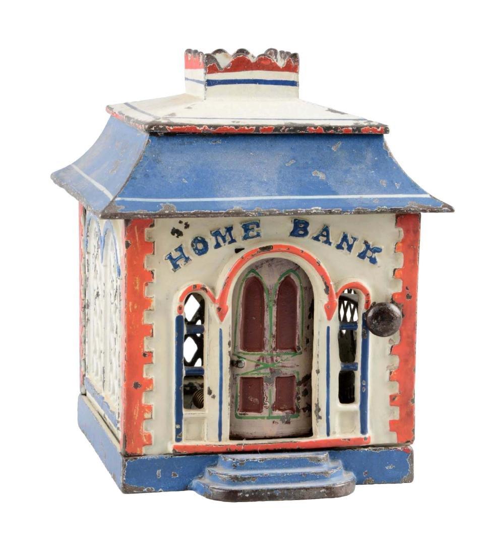 J. & E. Stevens Cast Iron Home Mechanical Bank.