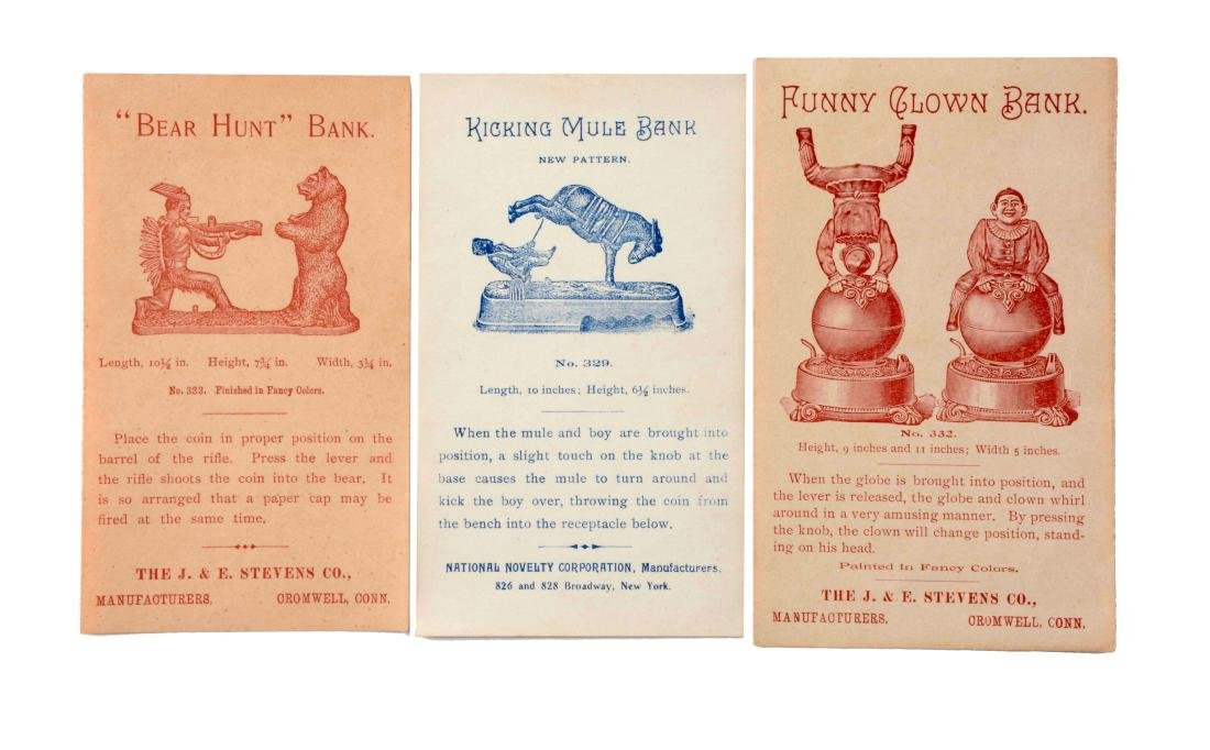 Lot Of 3: Mechanical Bank Trade Cards.