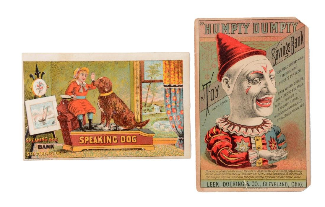 Lot Of 2: Mechanical Bank Trade Cards.