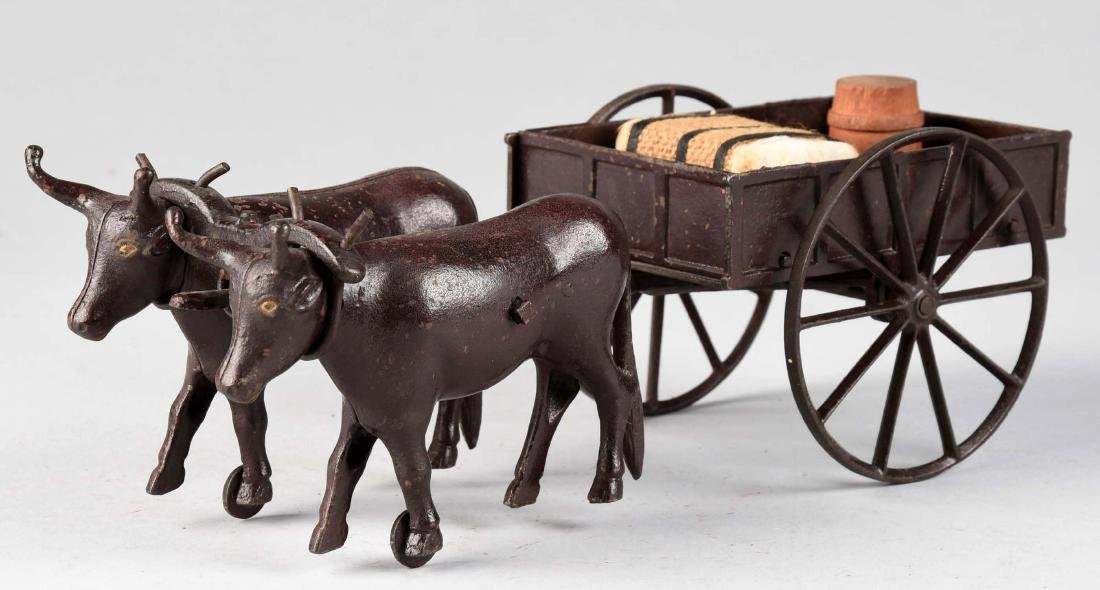 Rare Ives Two Oxen Drawn Cast Iron Cart. - 2