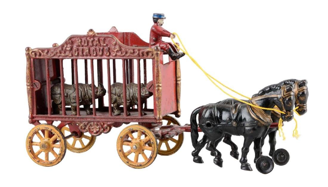 Hubley Large Horse Drawn Circus Wagon w/ Side Gate.