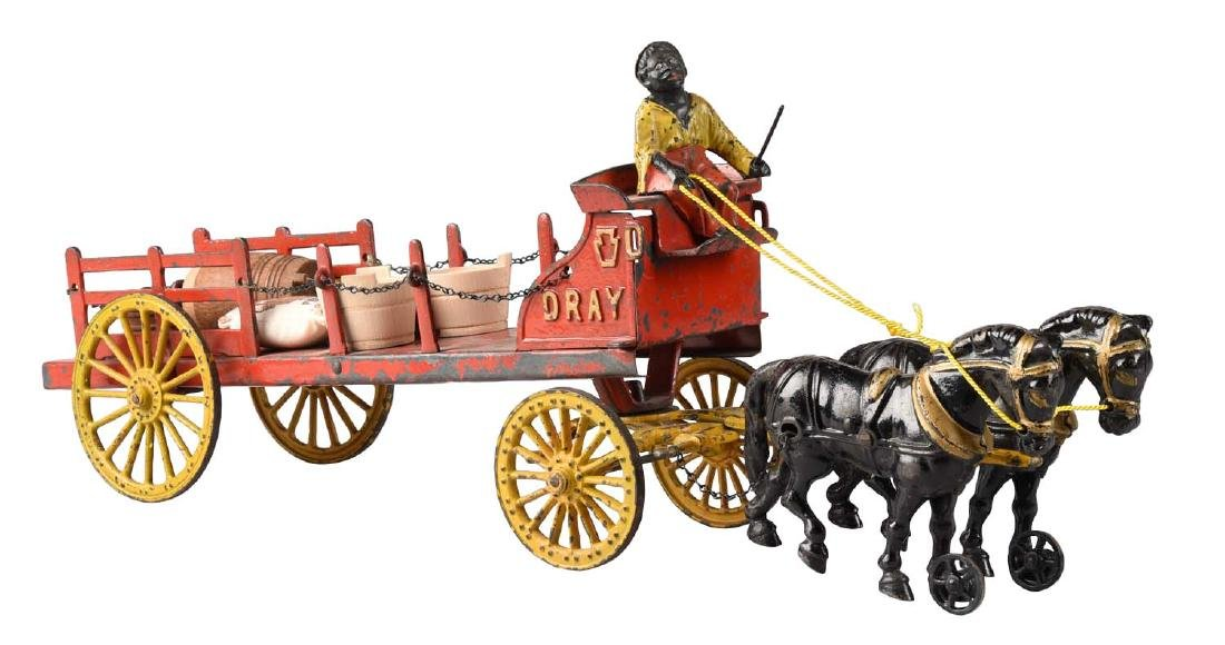 Hubley Large Two Horse Drawn Dairy Wagon.