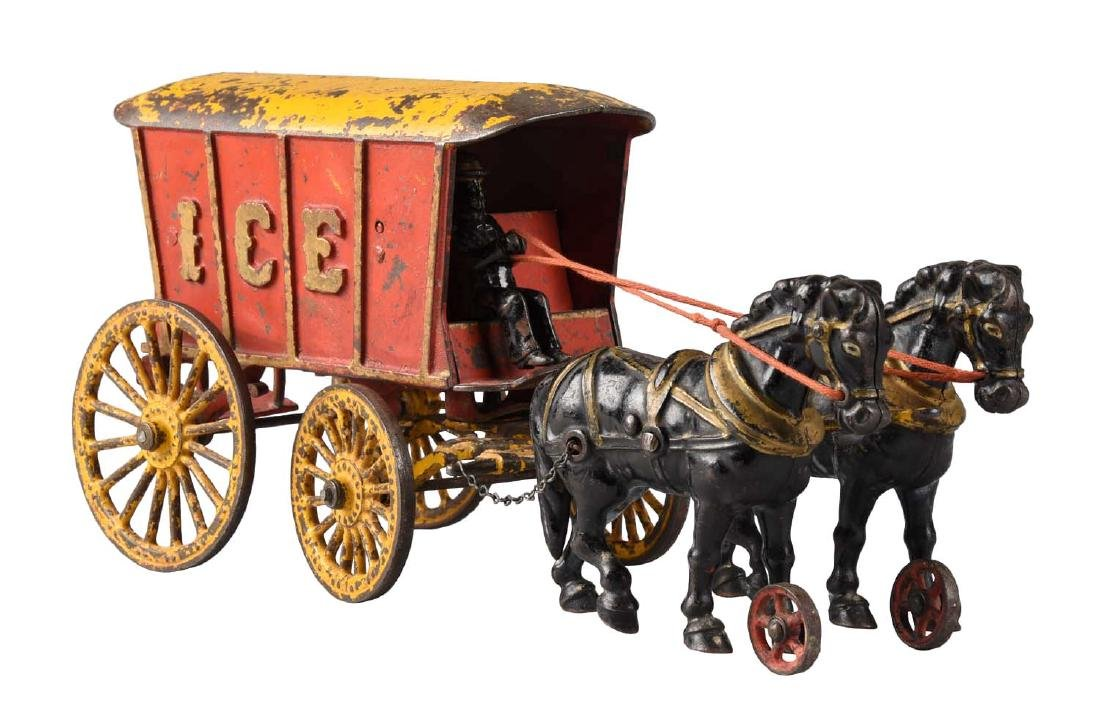 Hubley Large Cast Iron Horse Drawn Ice Wagon.