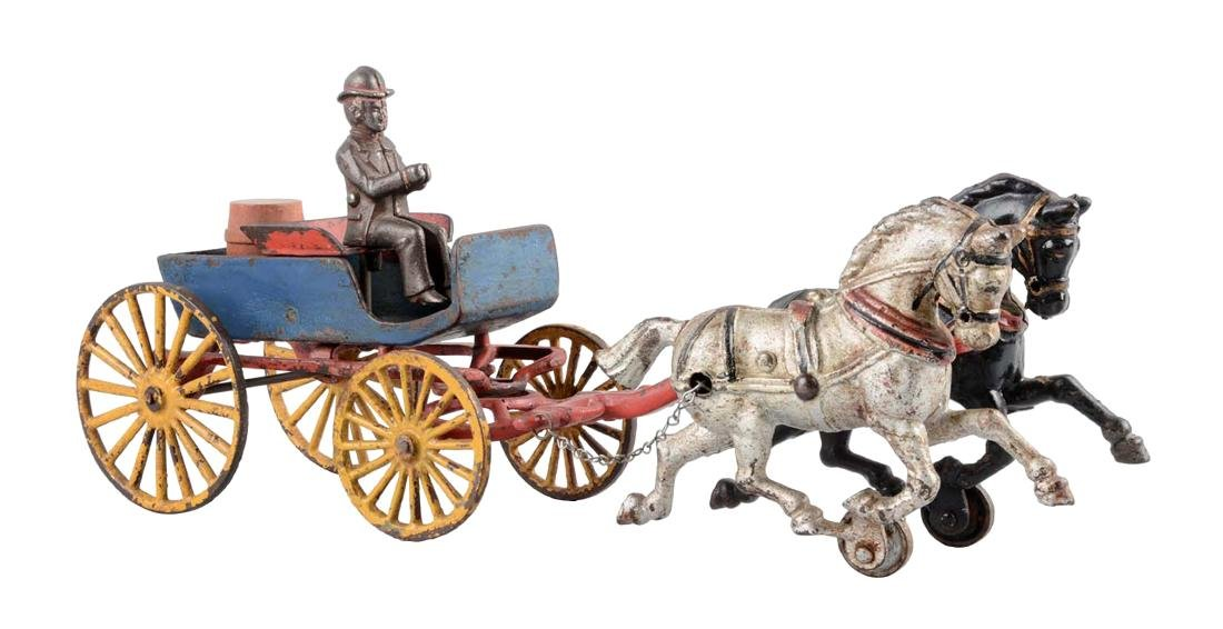 Early Hubley Two Horse Drawn Buggy.