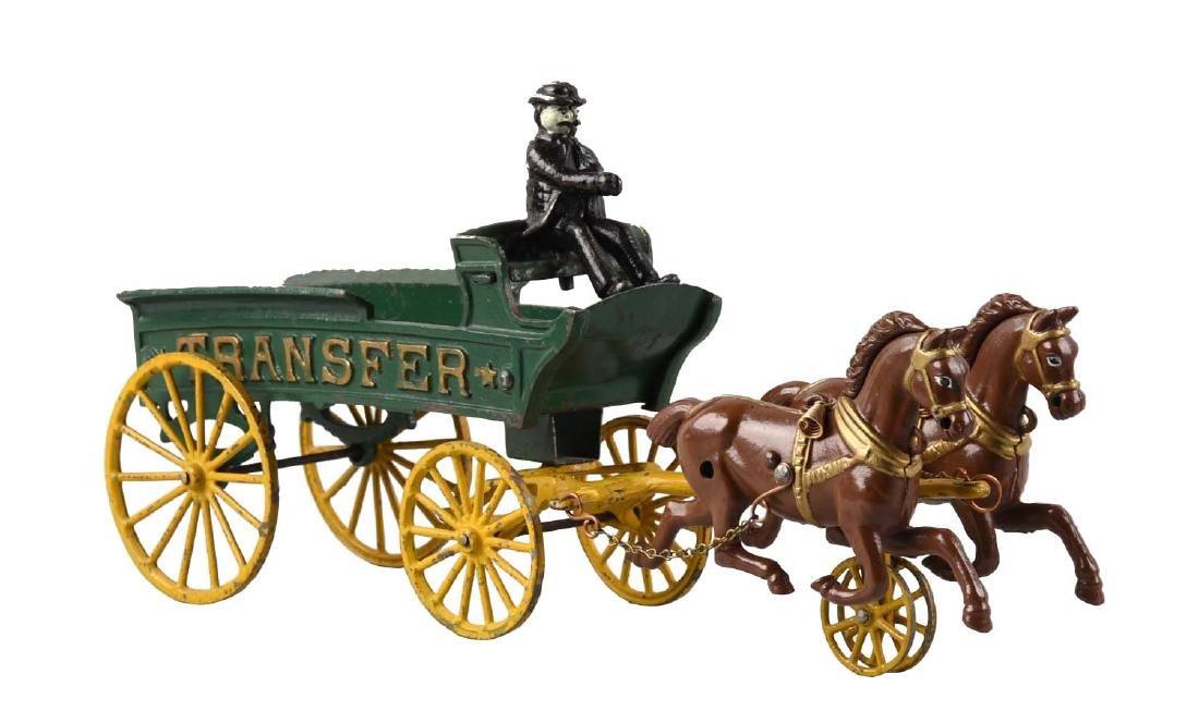 Two Horse Drawn Cast Iron Transfer Wagon.