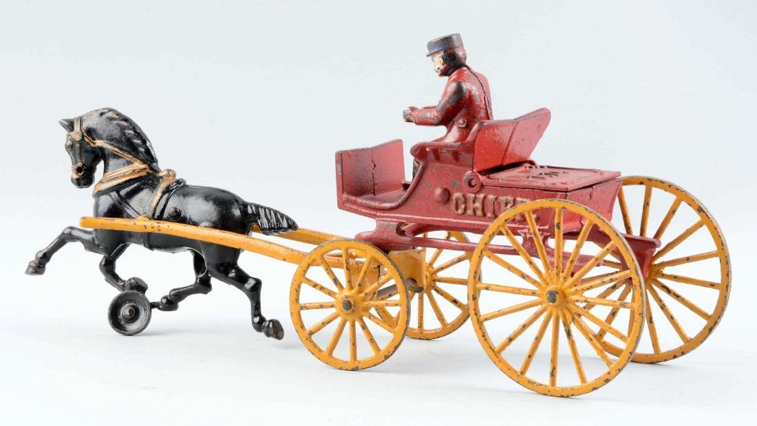 Cast Iron Kenton Horse Drawn Fire Department Chief - 2