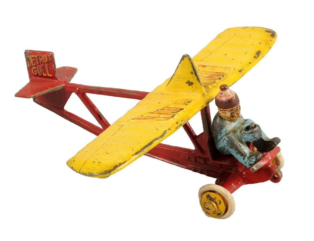 Large Cast Iron Lindy Glider w/ Removable Figure.
