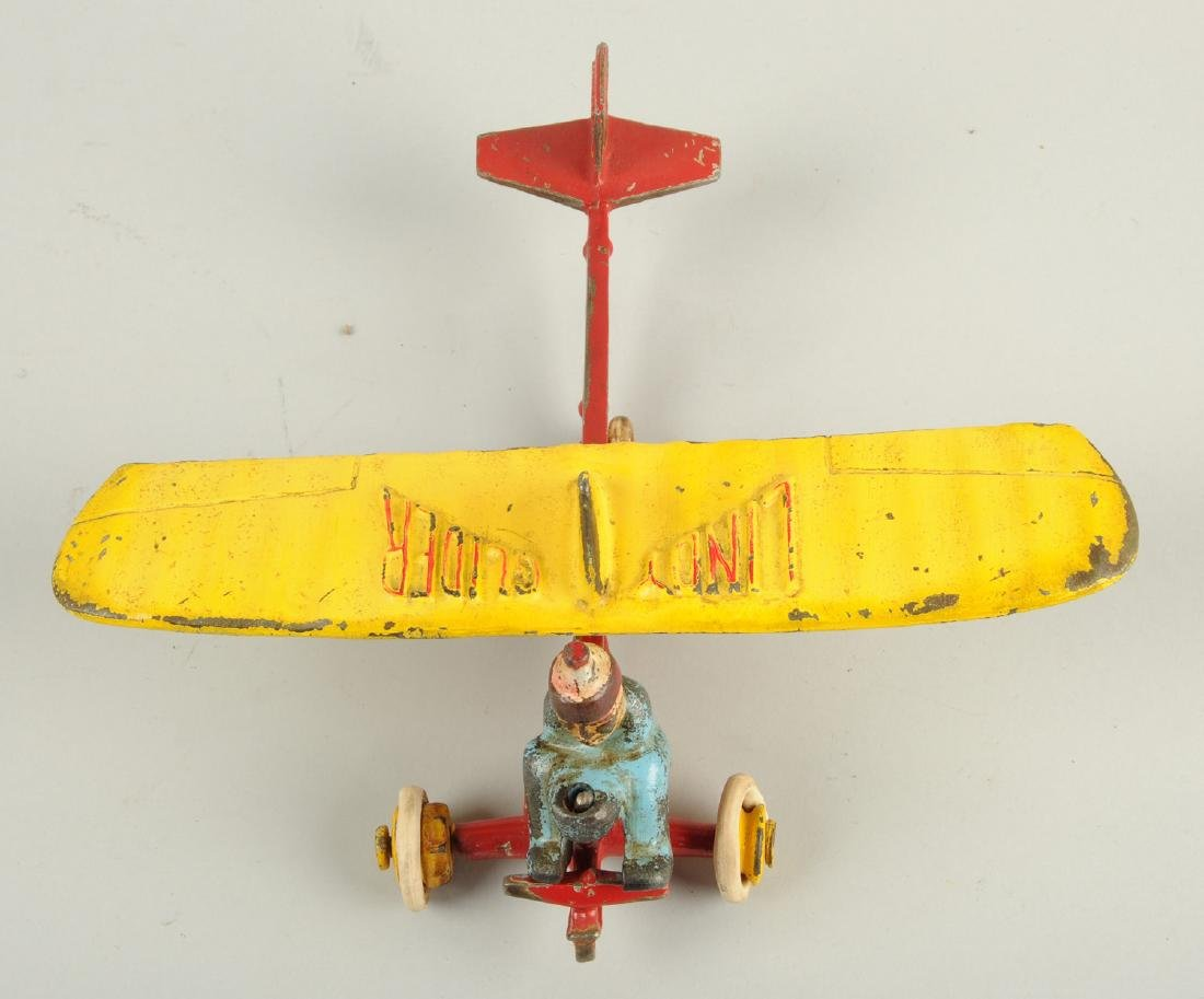 Large Cast Iron Lindy Glider w/ Removable Figure. - 3