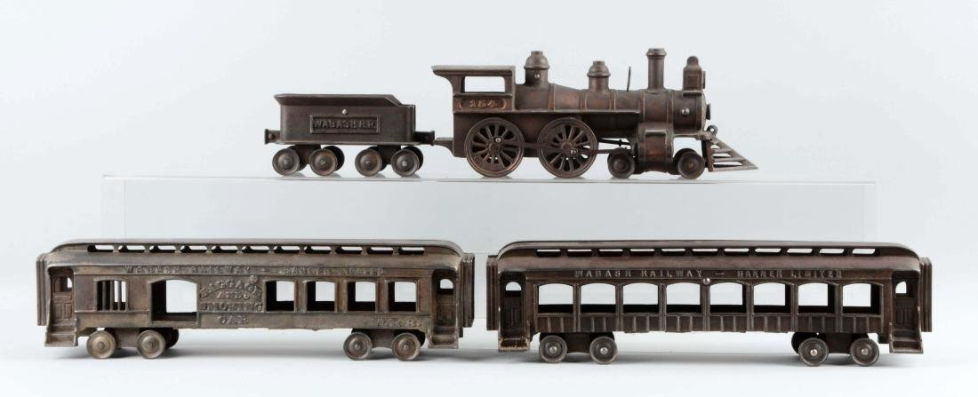 Ideal 4 Piece Wabash Railway Cast Iron Floor Train.