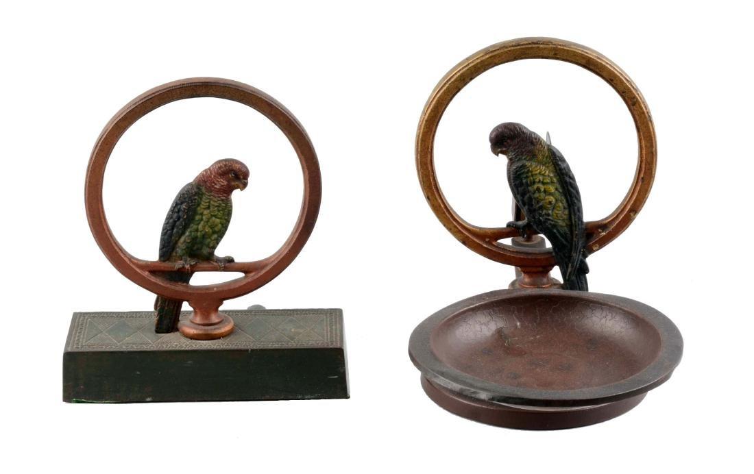 Lot Of 2: Cast Iron Parrot In Ring Doorstop & Smoking