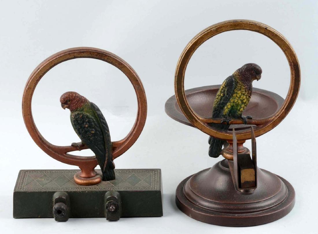 Lot Of 2: Cast Iron Parrot In Ring Doorstop & Smoking - 2