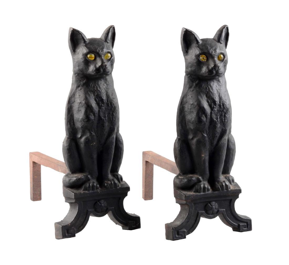 Cast Iron Cat on Pedestal Andirons.