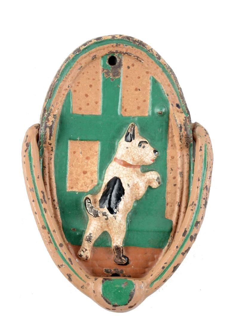 Cast Iron Fox Terrier At Door Doorknocker.