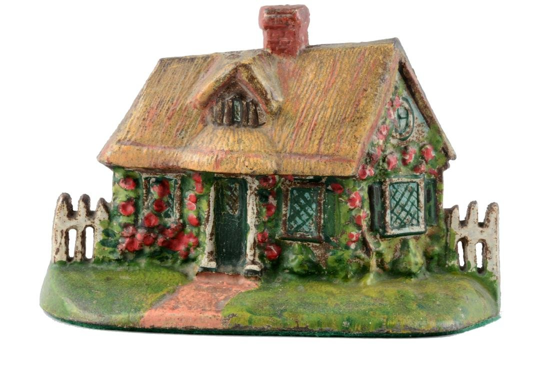 Cast Iron Cape Cod Cottage With Thatched Roof Doorstop.