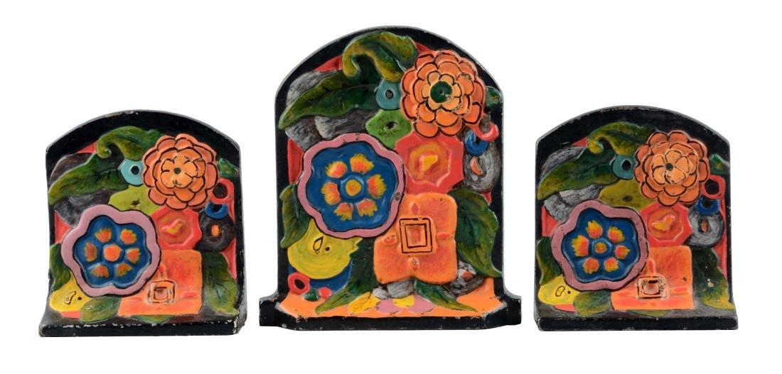 Cast Iron Deco Flowers Doorstop & Matching Bookends.