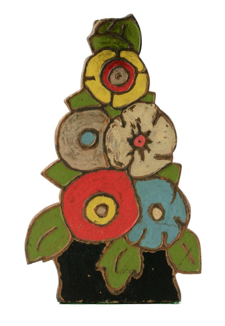 Cast Iron Naïve Deco Mixed Flowers Wedge Doorstop.