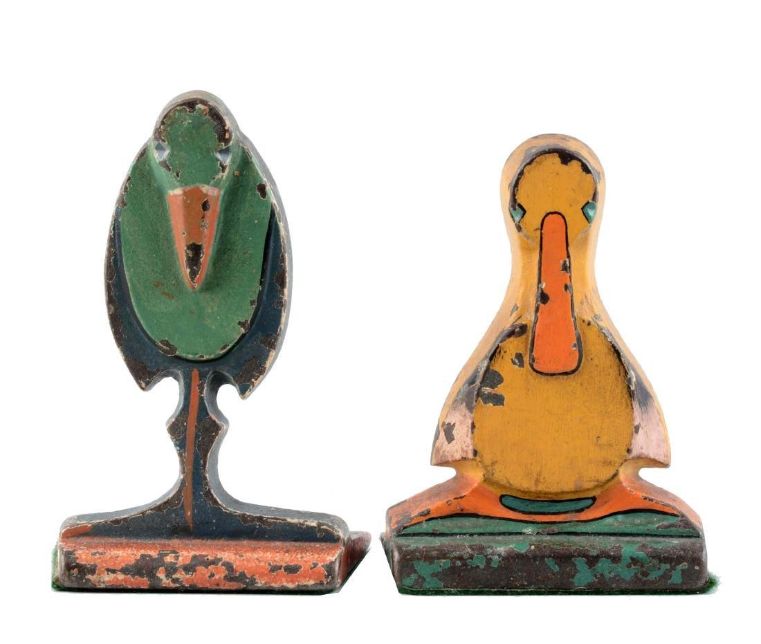 Lot Of 2: Cast Iron Assorted Bird Wedge Children's