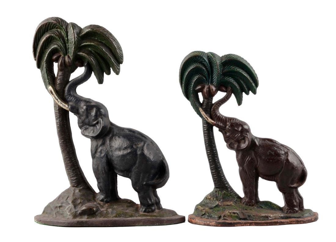 Lot Of 2: Cast Iron Elephant By Palm Tree Doorstops.