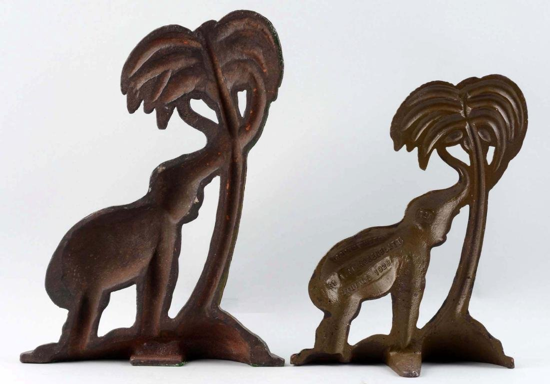 Lot Of 2: Cast Iron Elephant By Palm Tree Doorstops. - 2