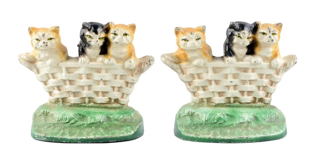 Cast Iron Kitten In Basket Bookends.