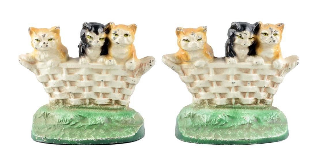 Cast Iron Kitten In Basket Bookends.