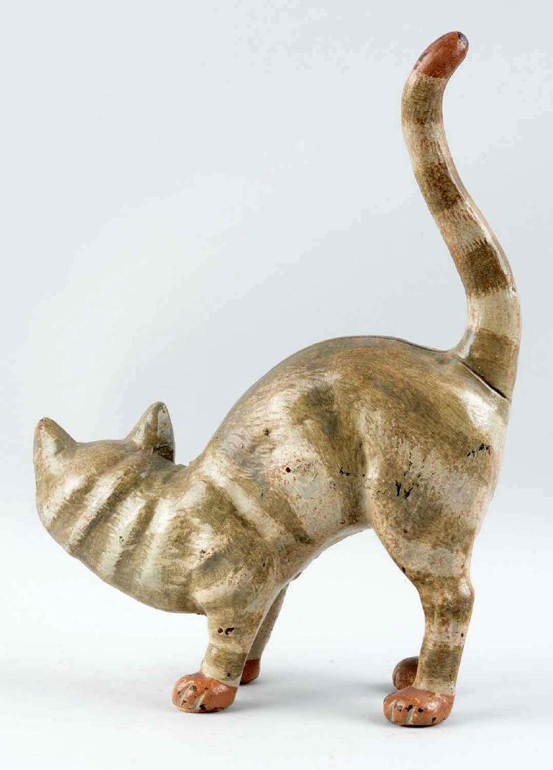Cast Iron Cat With Tail Up Doorstop. - 2