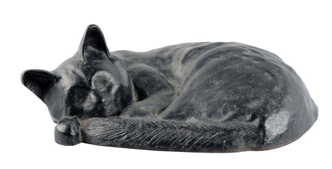 Cast Iron Sleeping Cat Doorstop.