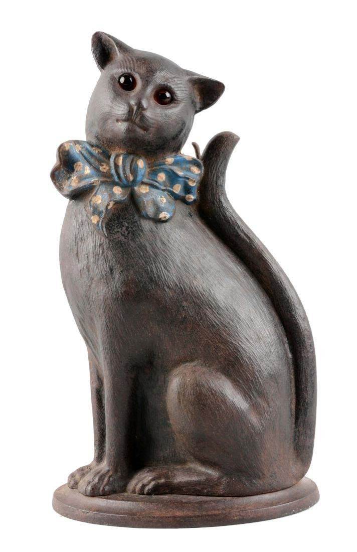 Cast Iron Cat With Bow Fireplace Tool Holder.