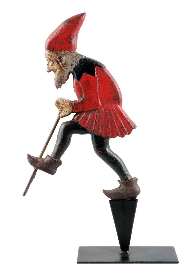 Cast Iron Gnome Digging For Gold Lawn Ornament.