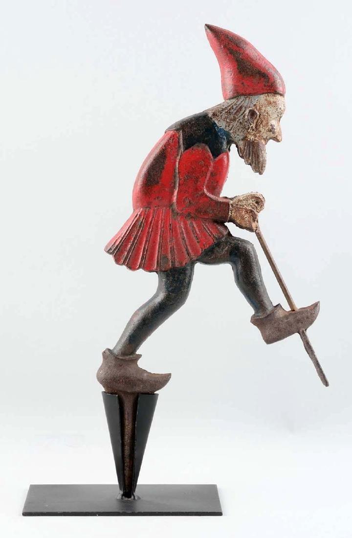 Cast Iron Gnome Digging For Gold Lawn Ornament. - 2