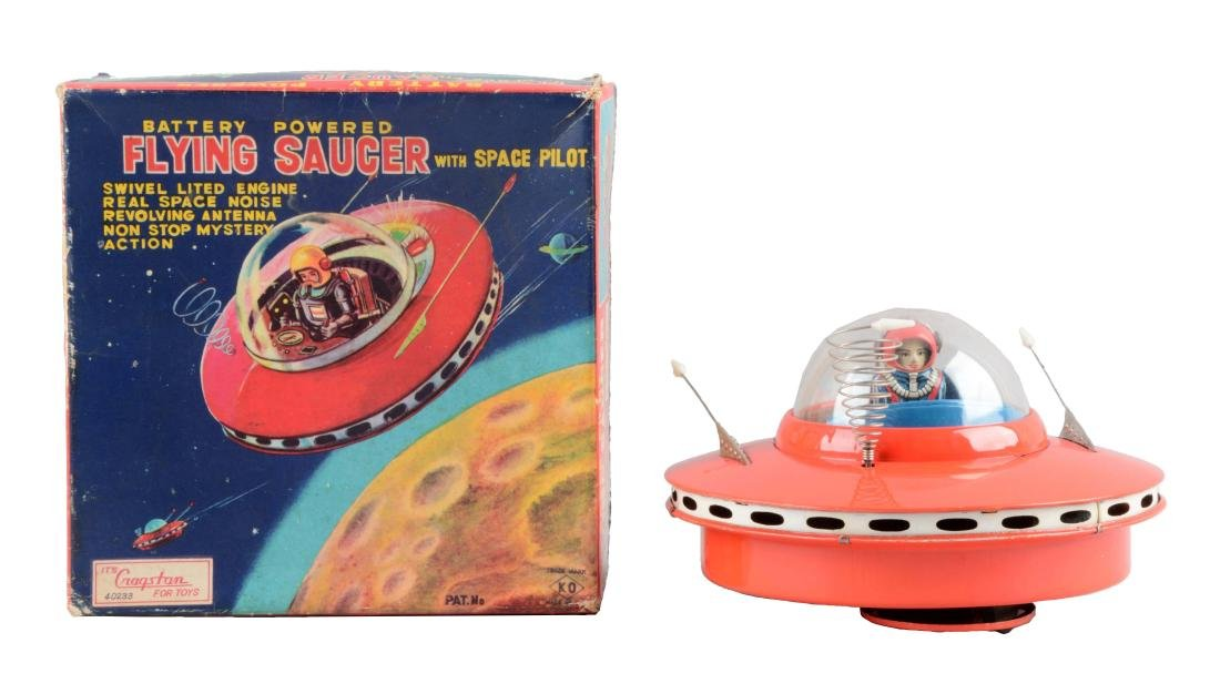 Japanese Tin Litho Battery-Operated Flying Saucer With