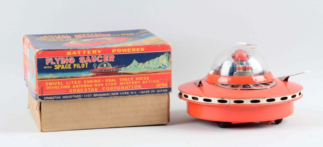 Japanese Tin Litho Battery-Operated Flying Saucer With - 2