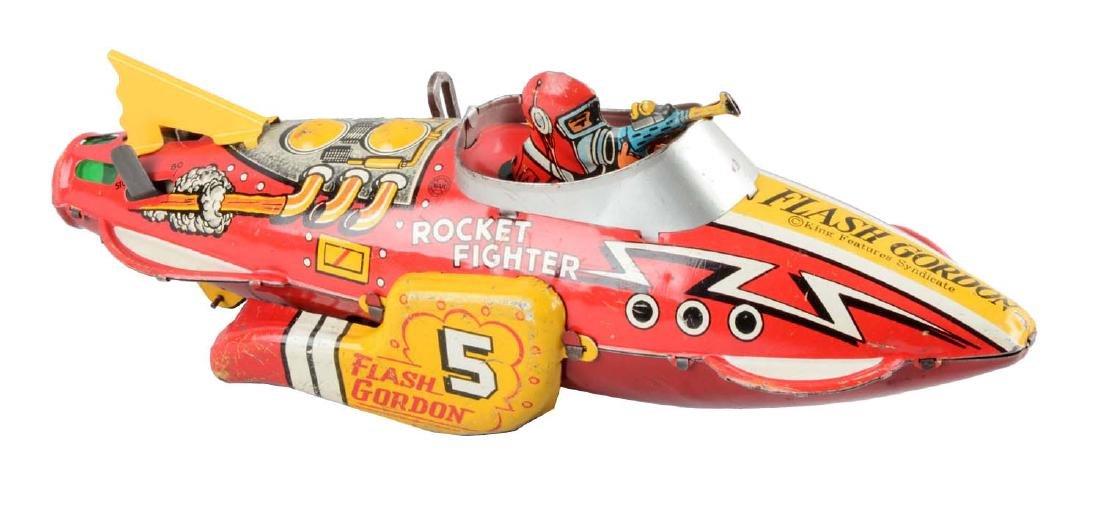 Marx Tin Litho Wind-Up Flash Gordon Rocket Fighter Toy.