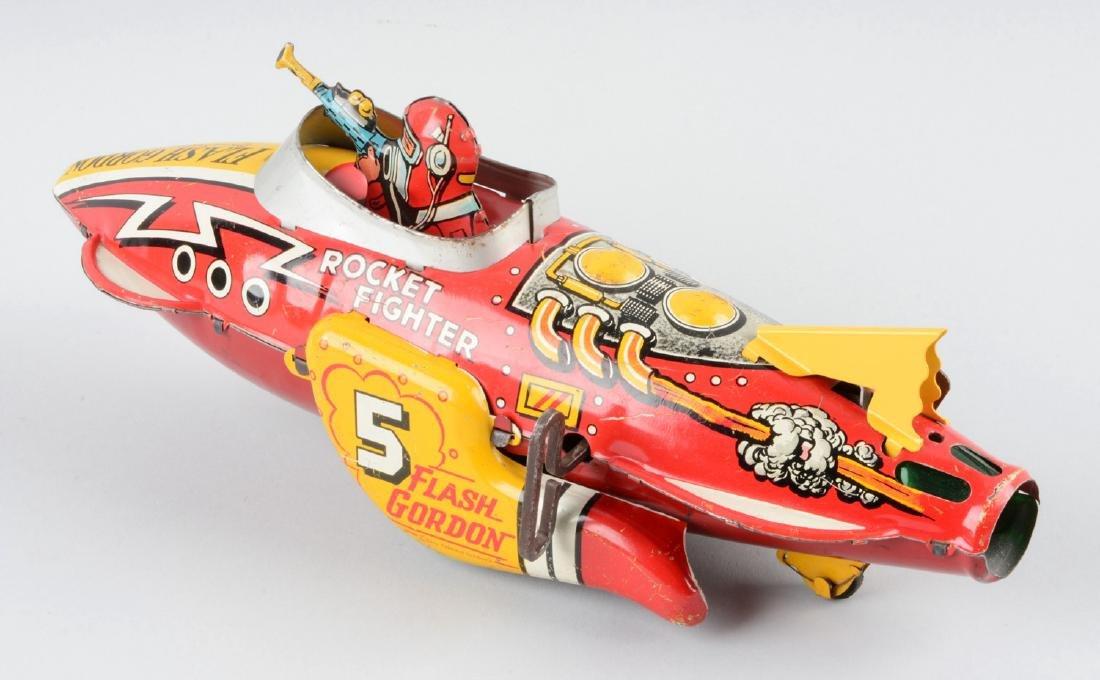 Marx Tin Litho Wind-Up Flash Gordon Rocket Fighter Toy. - 2