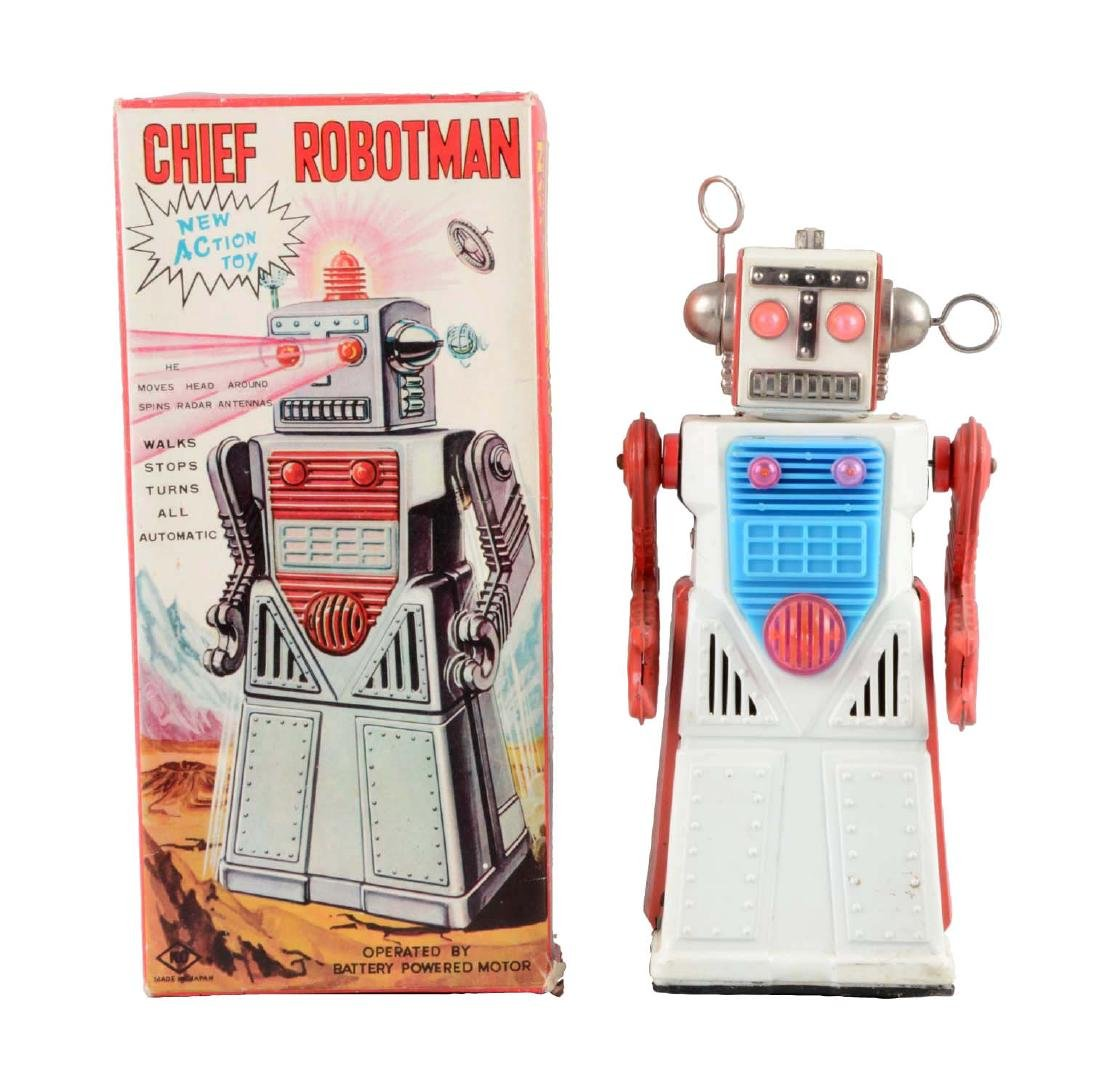 Japanese Tin Litho Battery-Operated Chief Robot Man.