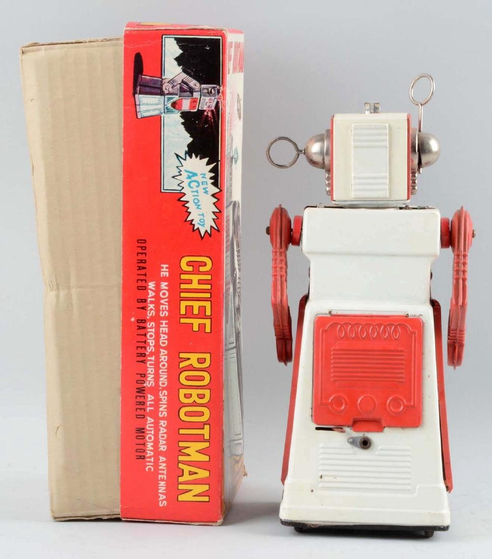 Japanese Tin Litho Battery-Operated Chief Robot Man. - 2