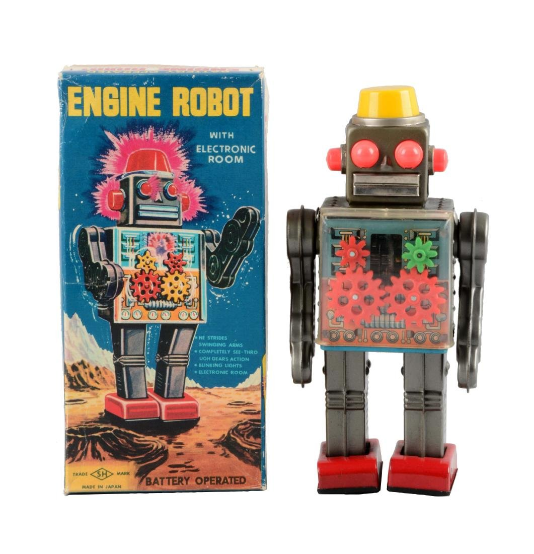 Japanese Tin Litho Battery-Operated Engine Robot.