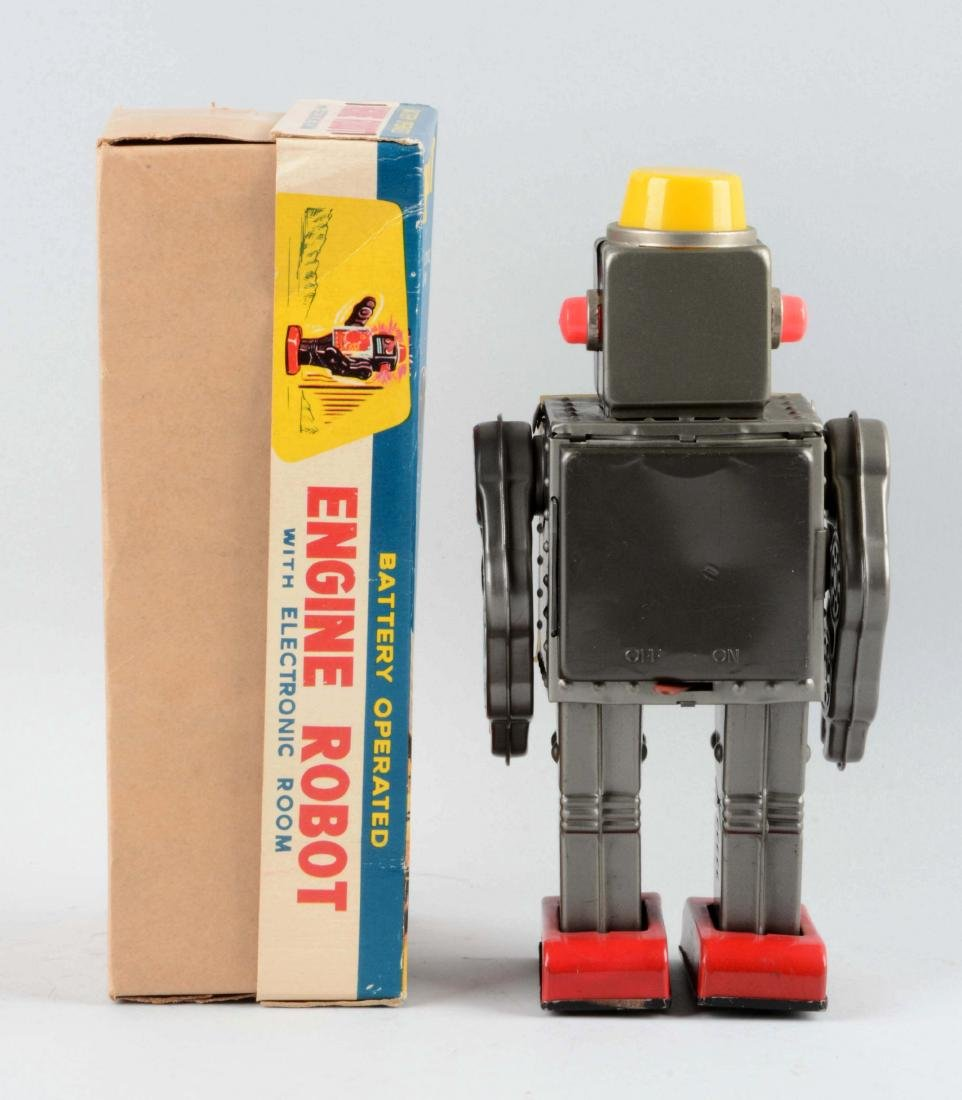 Japanese Tin Litho Battery-Operated Engine Robot. - 2