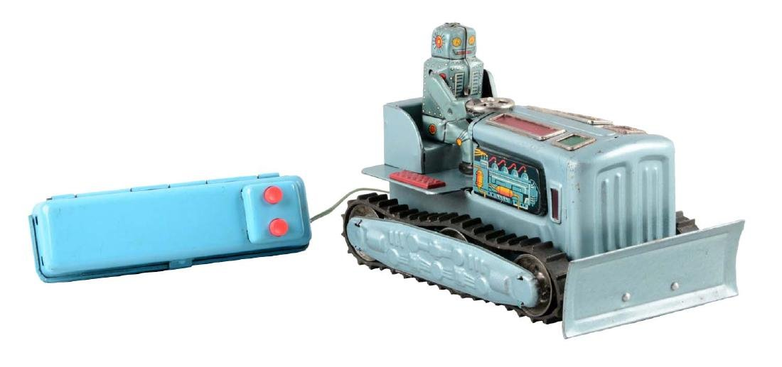 Japanese Tin Litho Battery Operated Robot Bulldozer