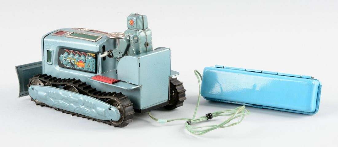 Japanese Tin Litho Battery Operated Robot Bulldozer - 2