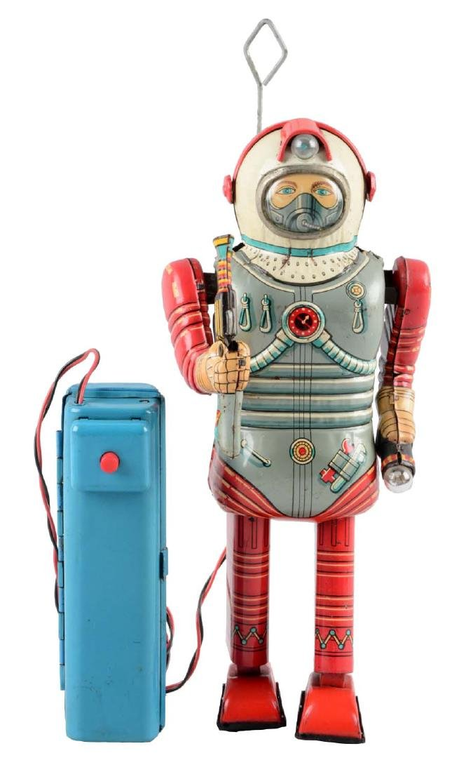 Japanese Tin Litho Battery Operated Walking Spaceman.