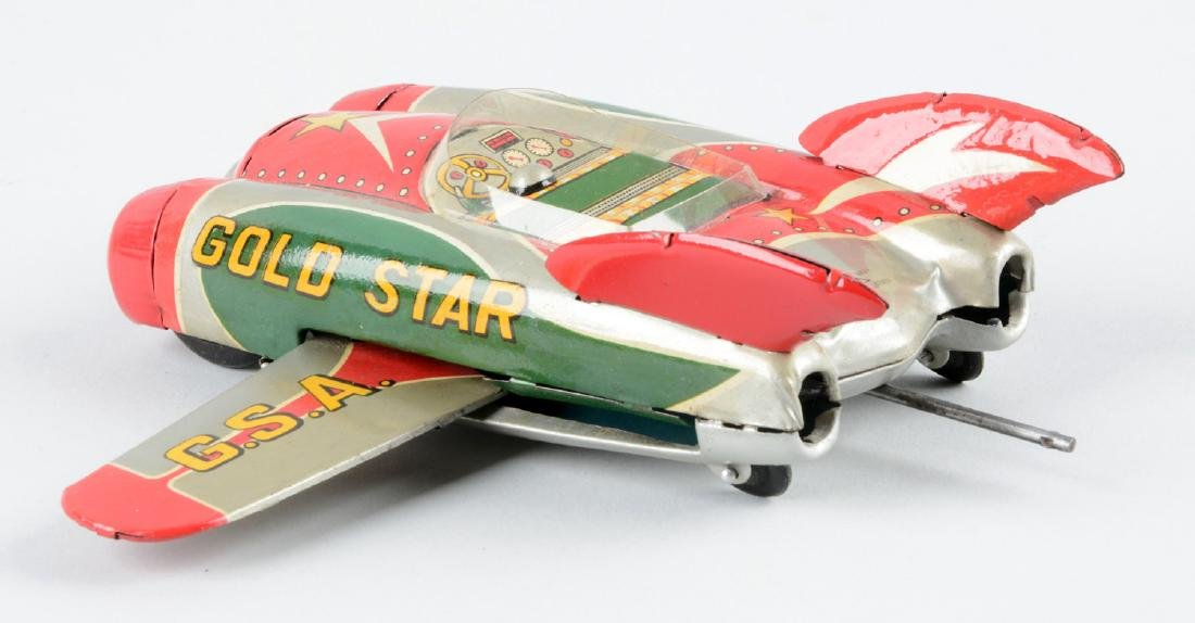 Japanese Tin Litho Friction Space Gold Star Vehicle. - 2
