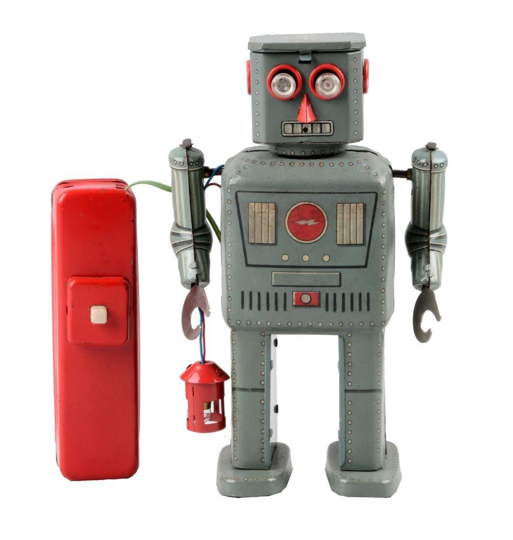 Japanese Tin Litho Battery-Operated Lantern Robot.
