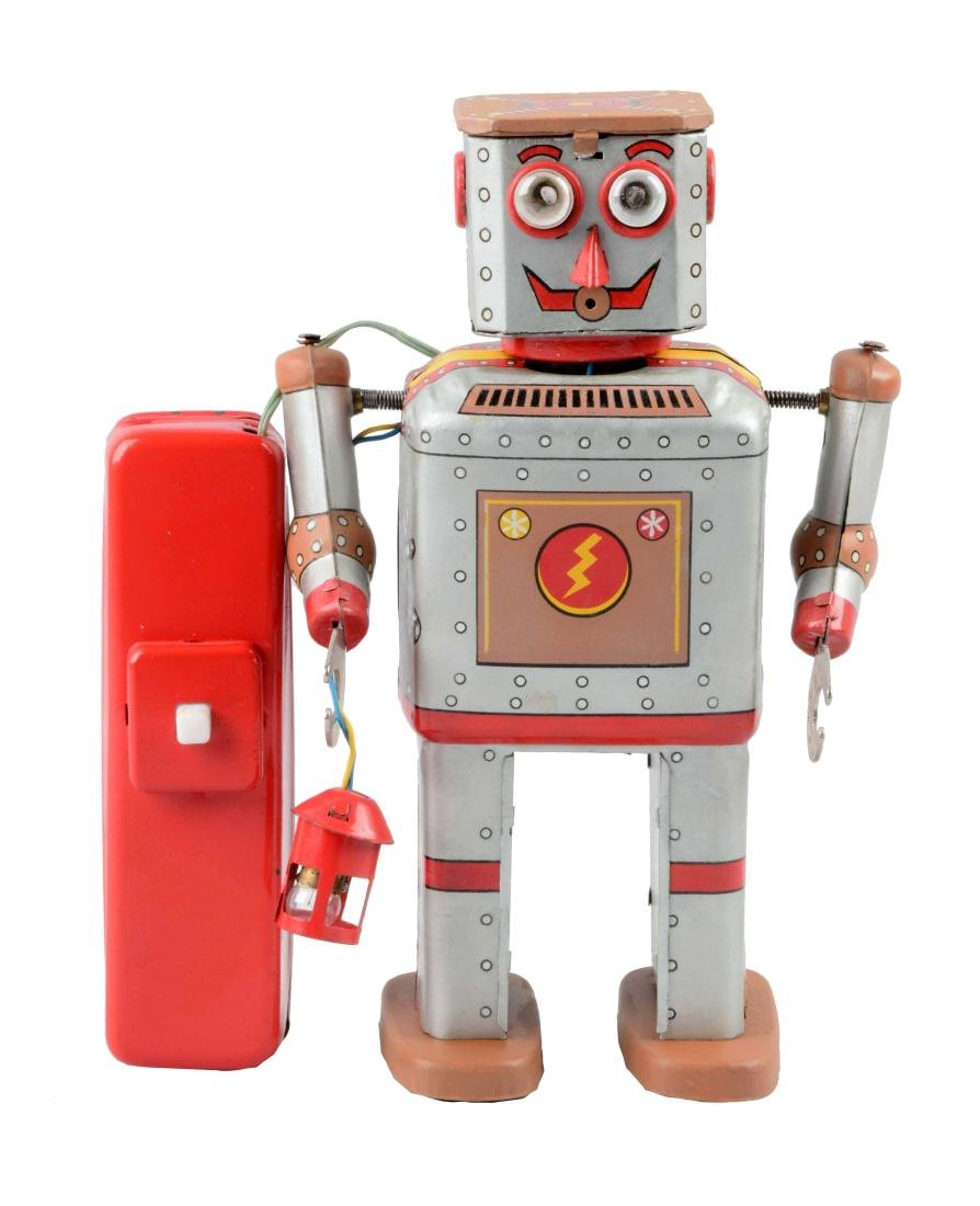 Japanese Tin Litho Battery-Operated Lantern Robot.