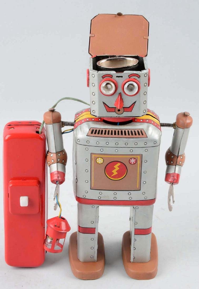 Japanese Tin Litho Battery-Operated Lantern Robot. - 2