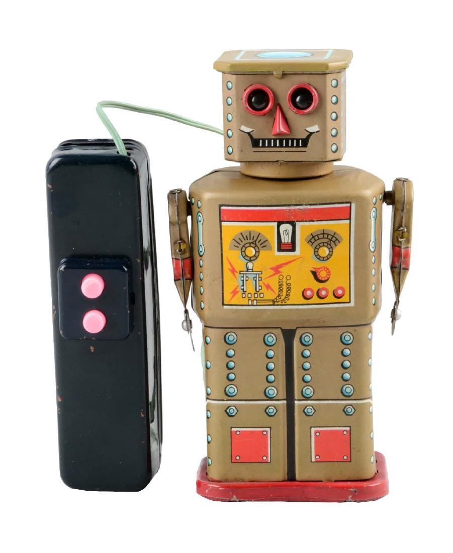 Japanese Tin Litho Battery-Operated Golden Robot.