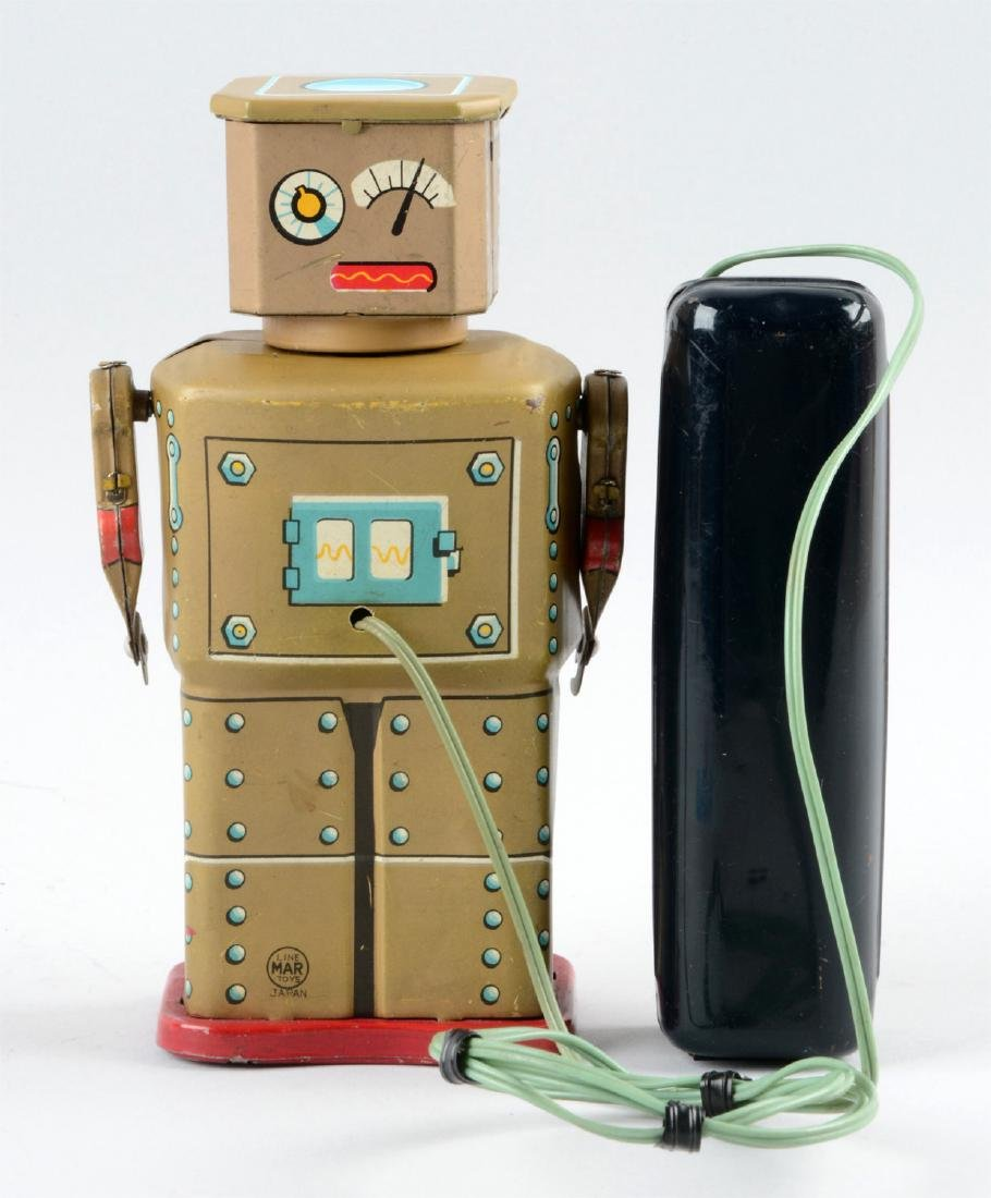 Japanese Tin Litho Battery-Operated Golden Robot. - 2