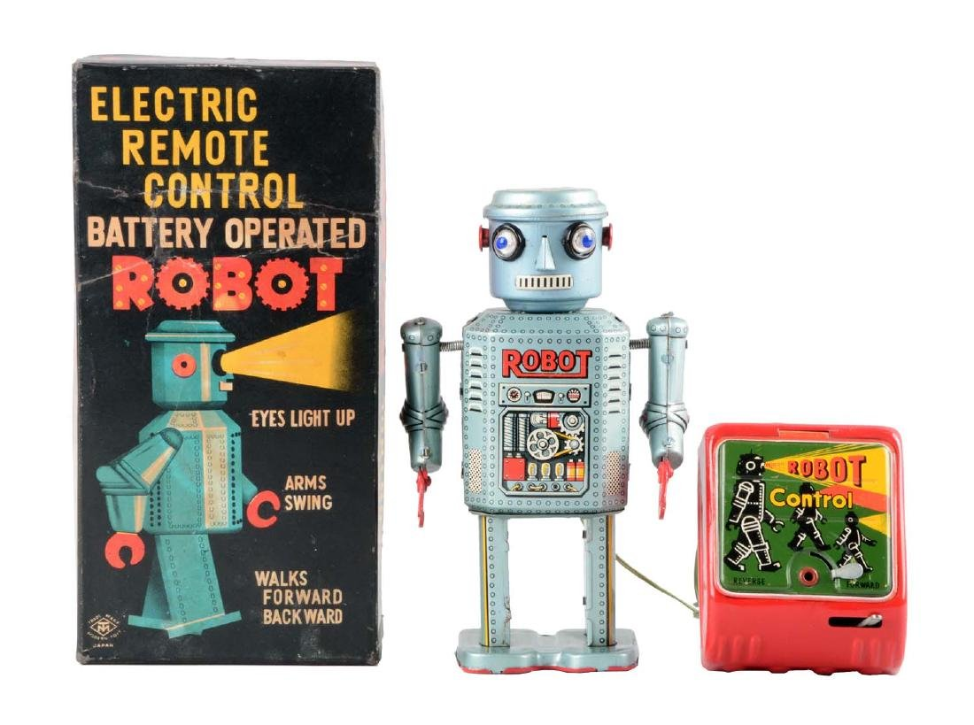 Japanese Tin Litho Battery-Operated R-35 Robot.