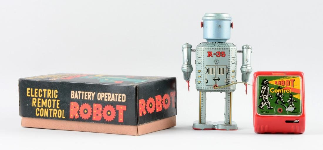 Japanese Tin Litho Battery-Operated R-35 Robot. - 2